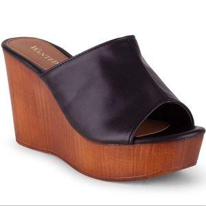 Wanted London Slip-On Wedge Sandal - Black